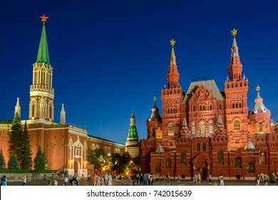 The main sights of Moscow - the Kremlin on Red Square and the State Historical Museum of Russia, Moscow, Russia