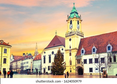 Main square of Bratislava called Hlavne Namestie with walking people, motion blur. Slovakia. - Shutterstock ID 1624050979