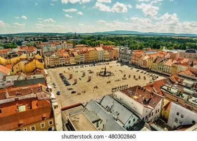 Main square of Ceske Budejovice (Czech Republic), HDR-technique