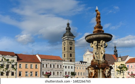 Main square of Ceske Budejovice with Samson fountain and Town Hall building - Czech Republic