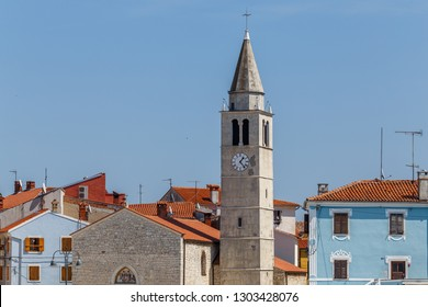 Main square and church with bell tower in Fazana town, Istria, Croatia