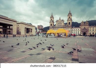 main square with church, Bolivar square in Bogota, Colombia, Latin America