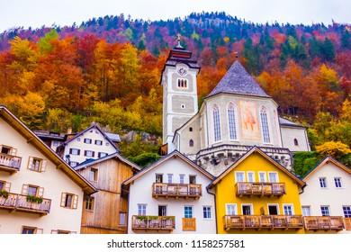 Main square with church of the Hallstatt town scene, Unsesco, Austria, Salzkammergut in Europe