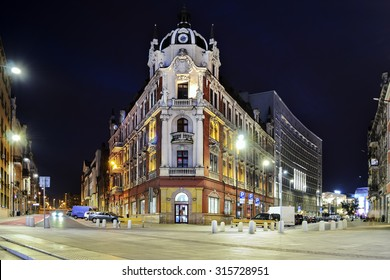 The main square in the city center of Katowice, Poland