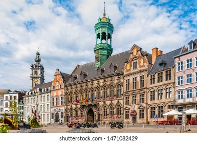 Main square with City Hall in Mons, Belgium.
