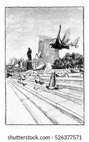 Main square in the city. Square with some monument and a flock of birds. Charcoal crayon illustration.