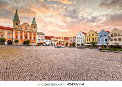 Main square in the city of Zilina in central Slovakia. HDR image.