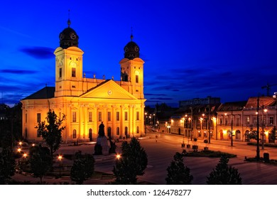 Main square of Debrecen city, Hungary at night