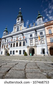 The main square with the dominant town hall building in Ceske Budejovice, Czech Republic.