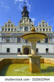 The main square with a fountain and the Renaissance town hall of town Stribro (Silver). The mining town Stribro is located in the Pilsen Region of the Czech Republic.
