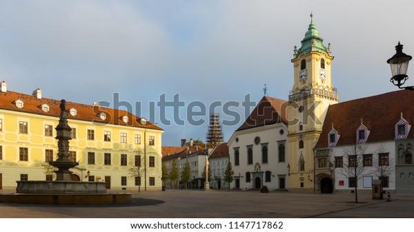 Main Square is historical landmark in sunset of Bratislava outdoors.