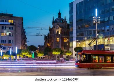 Main Square in Katowice at night. Katowice, Slaskie, Poland.