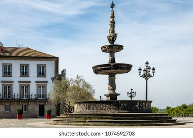 The main square Largo de Camoes with the 18th Century fountain in Ponte de Lima, a town in the Northern Minho region in Portugal.