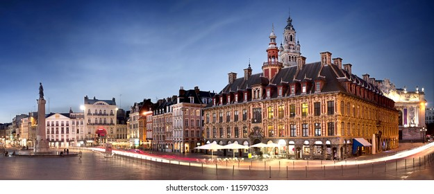 Main square of Lille by night - France