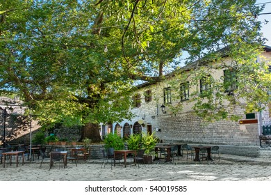 Main square in Monodendri, one of the stone villages of Zagoria. Epirus, Greece