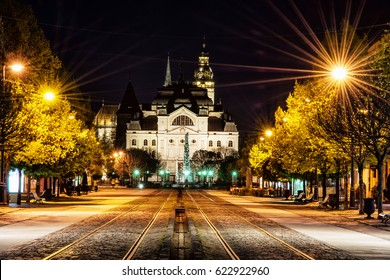 Main square with plague column, national theatre and St. Elisabeth cathedral in Kosice, Slovak republic. Night scene. Travel destination.