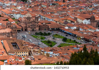 Main square ( plaza de armas )view from the ruins of sacsayhuaman , in the city of Cusco, Peru, Capital of the inca Empire