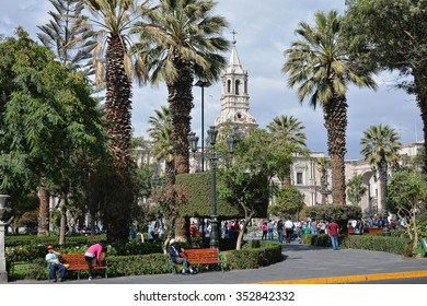 "Main square ""Plaza de Armas"" in Arequipa, Peru."