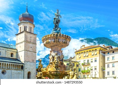 Main square in Trento, Trentino, Italy, Piazza Duomo, with Late Baroque Fountain of Neptune