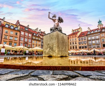 Main Square of Warsaw Old Town Market Square - Close up of statue of Saint Anne