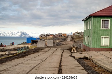 Main street in Barentsburg, russian settlement in Svalbard, Norway
