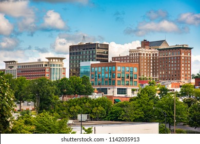 Main Street buildings in downtown Greenville South Carolina.