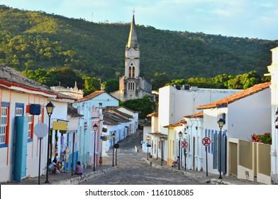 Main street of Cidade de Goias in Goias Brazil