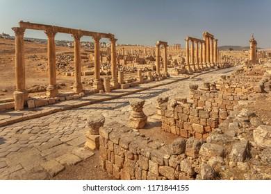 Main street, colonnaded Cardo maximus in ancient Roman city Gerasa, modern Jerash, Jordan