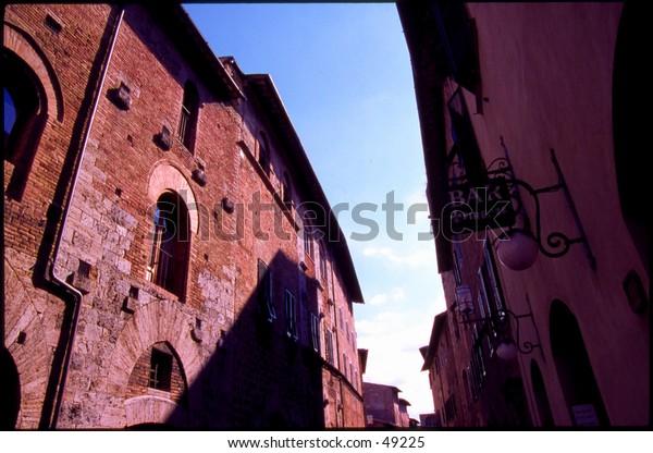 The main street in San Gimignano