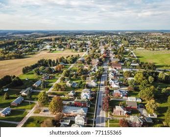 Main Street Shrewsbury, Pennsylvania in Southern York County during Fall