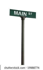 Main street sign over a white background