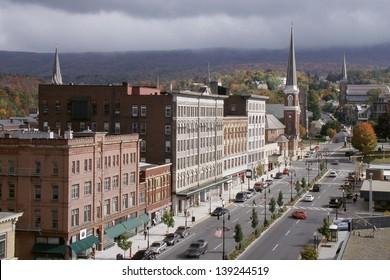 Main Street storefronts in North Adams, Massachusetts