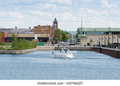 Main street and town dock at low water level in Collingwood, Ontario