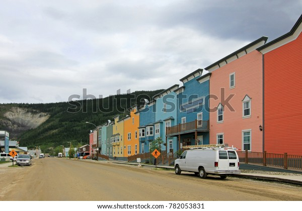 Main street with typical traditional wooden houses in Dawson City, Yukon, Canada