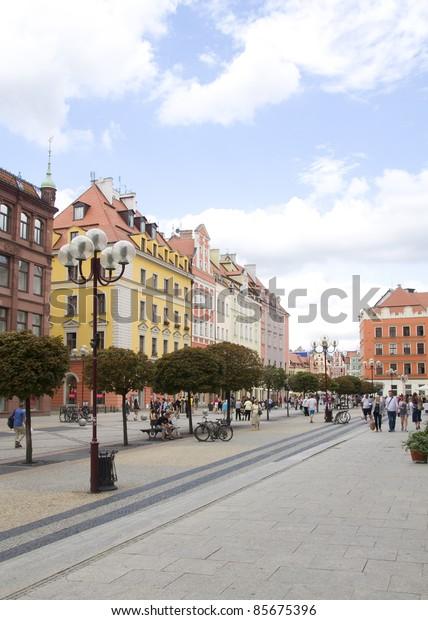 Main street of Wroclaw, Poland