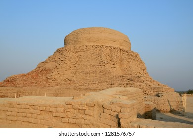 The main stupa of Mohenjo daro before sunset , one of world heritage site UNESCO in Sindh , Pakistan