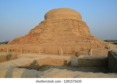 The main stupa of Mohenjo daro in the evening , one of world heritage site UNESCO in Sindh , Pakistan