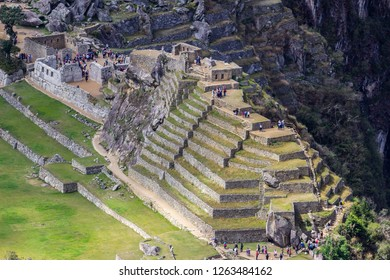 Main Temple and Temple of The Three windows at Machu Picchu old Inca Empire citadel, it is amazing the views from top of the temples and palaces inside Machu Picchu with it perfect arquitecture design