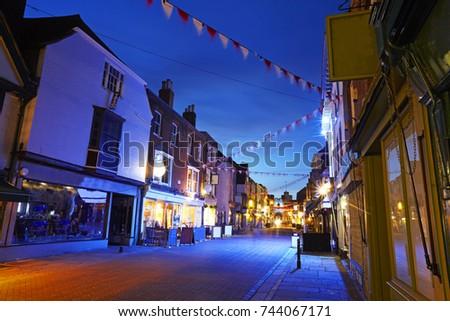 17db9c875fa8 Main Thoroughfare Canterbury Kent Illuminated Dusk Stock Photo (Edit ...