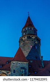 The main tower of Bouzov castle at the evening.