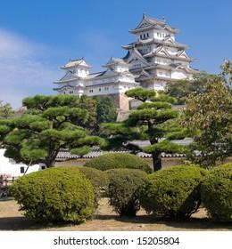 Main tower of Himeji Castle on the hillside