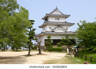 The main tower of Marugame Castle in Japan. The smallest reserved wooden main tower of castle in Japan.