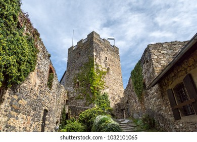 Main tower of old castle ruins named Gosting in Graz, Styria region of Austria.