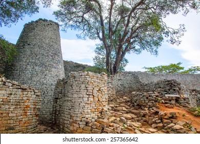 Main Tower & Wall at Great Zimbabwe in the Main Enclosure