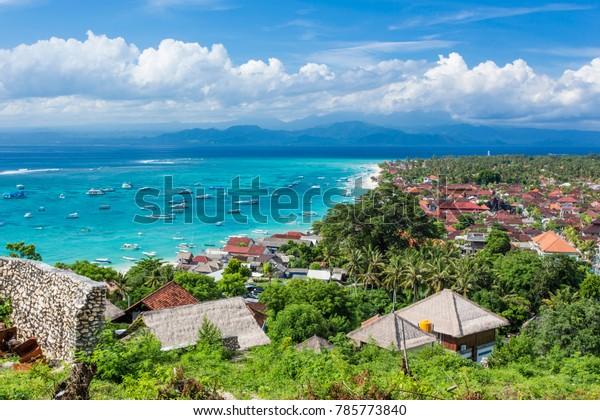 Main town of Nusa Lembongan Island, Bali, Indonesia, with boats awaiting to go to mainland Bali