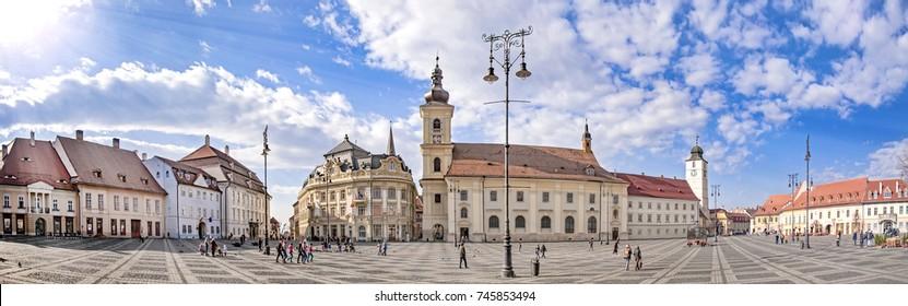 Main town square (Piata Mare) in Sibiu, Transylvania, Romania, panorama