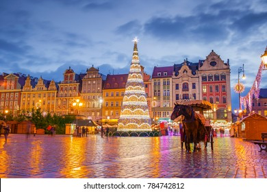 The main town square Rynek at night during Christmas holidays in Wroclaw, Poland