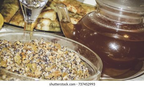Main Ukrainian Christmas food and drink, holidays in Ukraine, family dinner