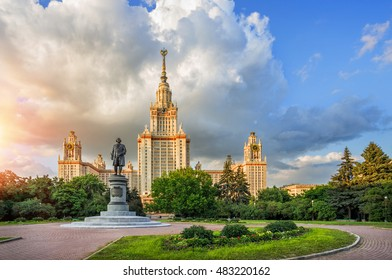Main University of Moscow - Moscow State University in the rays of the evening sun