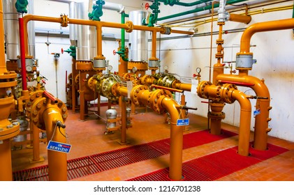 Main valves of a natural gas distribution station in northern Italy